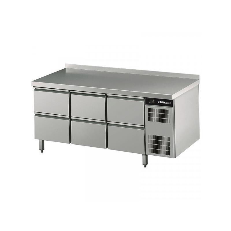 CHROMOnorm Kühltisch mit 6 Schubladen